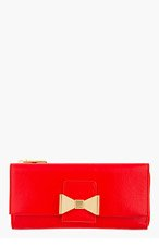 CHLOE Red leather Robbie Long Zipped Wallet for women