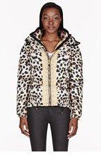 VERSUS Brown & Gold Down Leopard Print Jacket for women