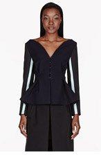 ROKSANDA ILINCIC Dark Navy Contrast-sleeved Selby Jacket for women