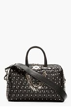 VERSACE Black Leather quilted & Studded Duffle Bag for women
