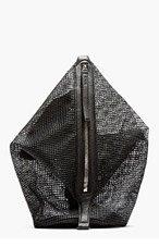 KARA Black Pebbled leather & doubled mesh Dry bag for women