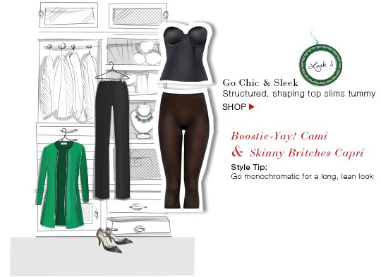 Go Chic & Sleek! Structured, shaping top slims tummy. Shop!