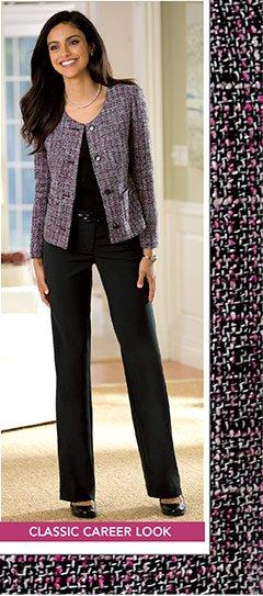 Tweed Jacket & Bootcut Pants