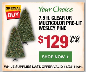 7.5 Ft Clear or Multicolor Pre-Lit Wesley Pine