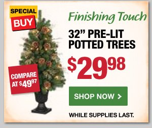 32 inch Pre-Lit Potted Trees