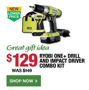 $129 Ryobi One+ Drill & Impact Driver Combo Kit