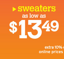 sweaters as low as $13.49