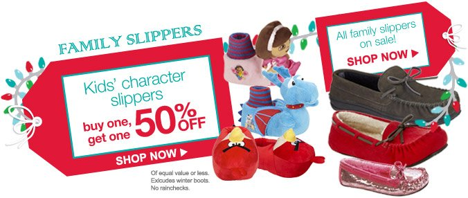 FAMILY SLIPPERS | Kids' character slippers buy one, get one 50% OFF | SHOP NOW | All family slippers on sale!