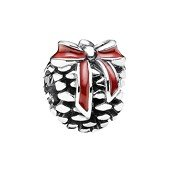 Pine cone silver charm with red enamel bow