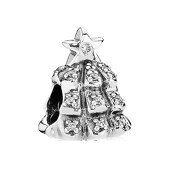 Christmas tree  silver charm with pave set c.z