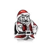 Santa silver charm with red and black enamel