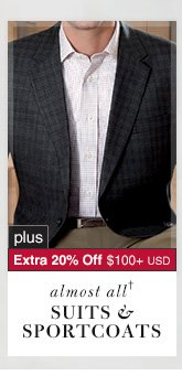 Suits & Sportcoats - 66% Off* plus Extra 20% Off