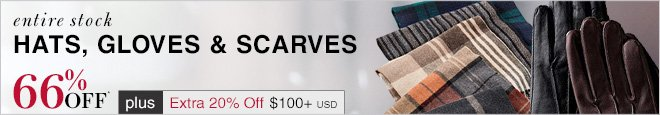 Hats, Gloves & Scarves - 66% Off* plus Extra 20% Off