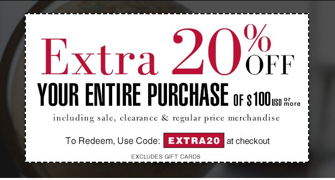 Extra 20% Off Your Entire Purchase of $100 USD or more | Use Code: EXTRA20