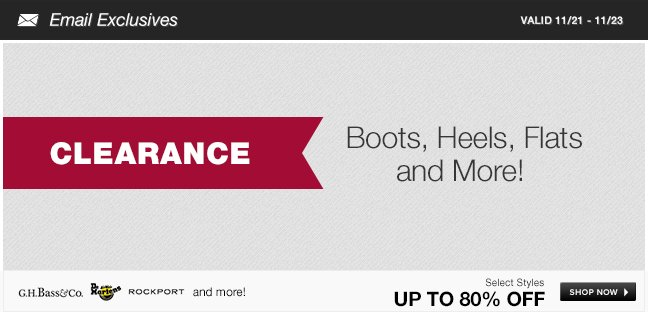 Clearance Boots, Heels, Flats and More