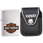 Zippo 200HDH252 Harley Davidson Black Logo Brushed Chrome Windproof Lighter with Zippo Black Leather Clip Pouch