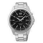 Seiko SKA597 Men's Kinetic Black Dial Stainless Steel Bracelet Date Watch