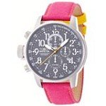 Invicta 12072 Men's I-Force Lefty Grey Dial Pink Fabric and Leather Strap Chronograph Watch