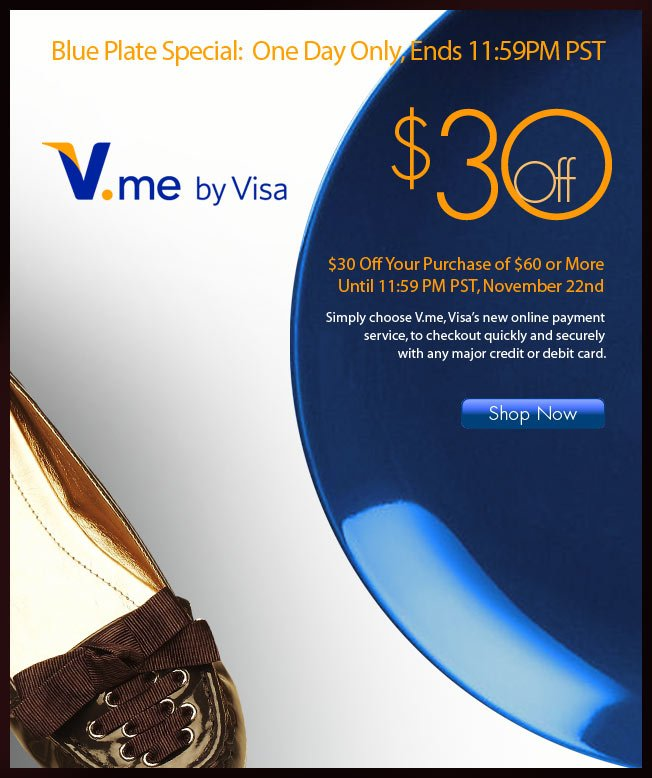 Today Only! $30 off $60 using V.me!