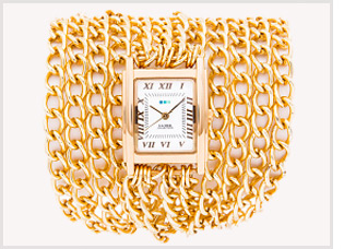 Gold-All Chains Wrap Watch
