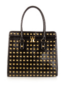 Patent Leather Studded Tote Bag