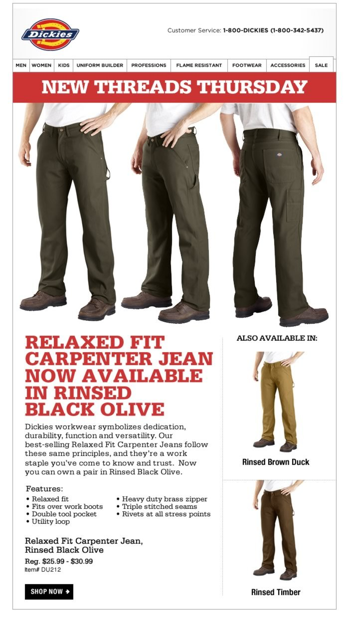 New Threads Thursday: Relaxed Fit Carpenter Jean in Black Olive