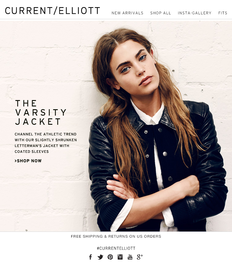 THE VARSITY JACKET CHANNEL THE ATHLETIC TREND WITH OUR SLIGHTLY SHRUNKEN LETTERMAN'S JACKET WITH COATED SLEEVES. >SHOP NOW