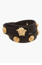 VERSACE Black Leather Medusa Stud Wrap Bracelet for women