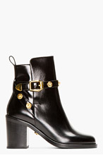 VERSACE Black Leather Medallion Boots for women