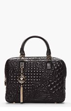 VERSACE Black Quilted Floral Leather Tassel Bag for women