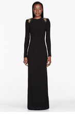 VERSACE Black studded shoulder pillar gown for women