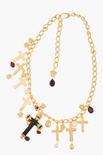 VERSACE Gold Multi-Cross Jeweled Necklace for women