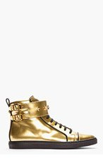 VERSACE Gold Patent Leather Buckled High-top Sneakers for women