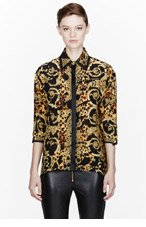 VERSACE Black & Gold silk rococo print Blouse for women
