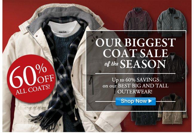 60 percent off all coats - click the link below