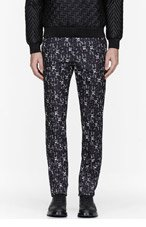 CALVIN KLEIN COLLECTION Washed black Abstract print Crosby Trousers for men