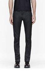 CALVIN KLEIN COLLECTION Black Waxed Denim Serge jeans for men