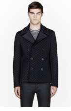 CALVIN KLEIN COLLECTION Black quilted Chevron Beechwood peacoat for men
