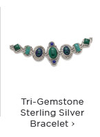 Tri-Gemstone Sterling Silver Bracelet