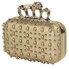Women's Gold Knuckle Skull Studded Gold Clutch