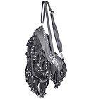Womens Grey Leather Studded Fringe Backpack