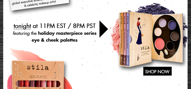 tonight at 11pm est/ 8pm pst featuring the holiday masterpiece series eye and cheek palettes