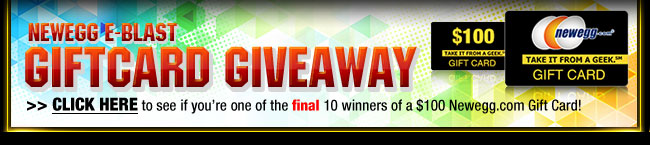 NEWEGG E-BLAST GIFTCARD GIVEAWAY.  CLICK HERE to see if you're one of the final 10 winners of a $100 Newegg.com Gift Card!