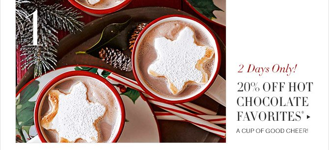 1 -- 2 Days Only! -- 20% OFF HOT CHOCOLATE FAVORITES* -- A CUP OF GOOD CHEER!