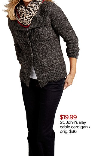 $19.99 St. John's Bay cable cardigan  › orig. $36