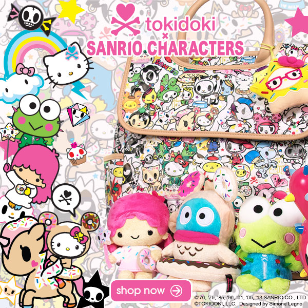 tokidoki and Sanrio have teamed up for an exciting limited edition Holiday collection.  This delightfully cute collaboration includes plush dolls, bags, watches, fun trinkets, and much more.