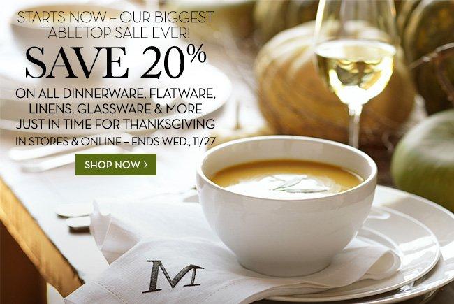 SAVE 20% SHOP NOW »