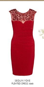Sequin Yoke Pleated Dress