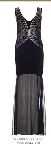 Sequin Sheer Skirt Maxi Dress