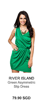 RIVER ISLAND GREEN ASYMMETRIC SLIP DRESS